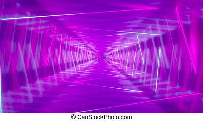 4k, néon, animation, rectangles, 3d, résumé, -, en mouvement, tunnel/