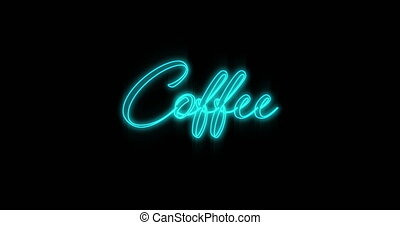 4k, néon, café, emerger, panneau affichage, bleu