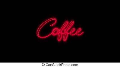 4k, néon, café, emerger, rouges, panneau affichage