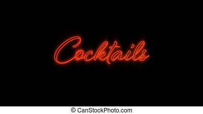 4k, néon, clignotant, mot, cocktails, rouges, panneau ...