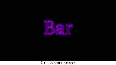 4k, néon, clignotant, pourpre, mot, barre, panneau affichage