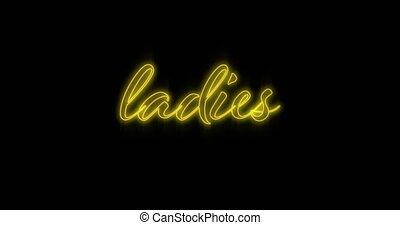 4k, néon, emerger, dames, panneau affichage, jaune
