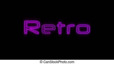 4k, néon, emerger, pourpre, retro, panneau affichage