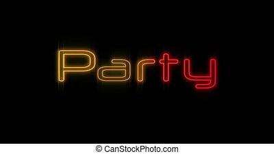 4k, néon, fête, emerger, rouges, panneau affichage, jaune
