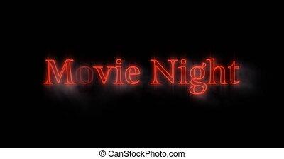 4k, néon, nuit, emerger, film, panneau affichage, orange