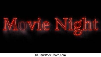 4k, néon, nuit, emerger, rouges, film, panneau affichage