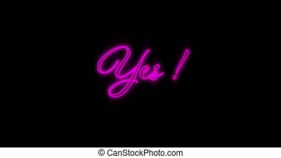 4k, néon, oui, clignotant, pourpre, mot, panneau affichage
