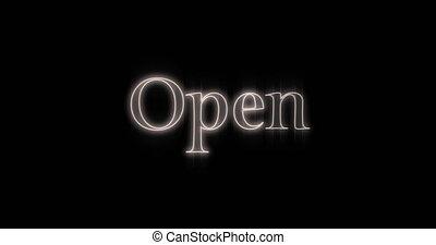 4k, néon, ouvert, emerger, blanc, panneau affichage