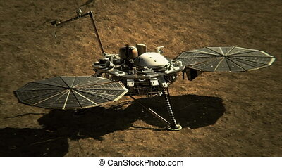 4K NASA InSight Lander on the Surface of Mars. (Elements...
