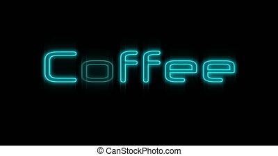 4k, neon, kawa, wynurzanie się, tablica ogłoszeń, błękitny