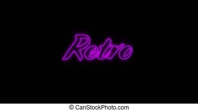 4k, neon, wynurzanie się, purpurowy, retro, tablica ogłoszeń