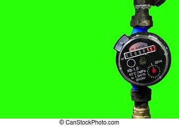 New water meter - 4K. New water meter with green screen,...