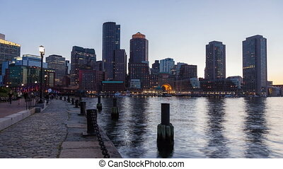 Night timelapse of Boston skyline