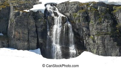 4K, Norway, Waterfall embedded in i - Nature Of Norway,...