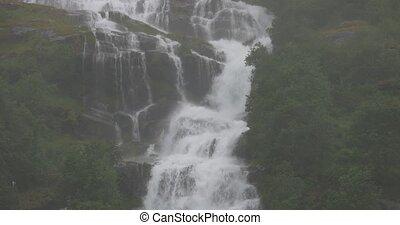4K, Norway, Waterfall In Rain - Nature Of Norway,...