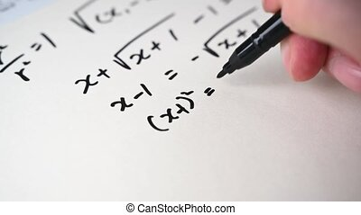 4K. Notes filled with mathematical formulas. Education concept.