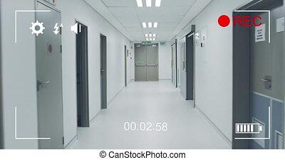4k, numérique, hôpital, filmer, appareil photo, couloir