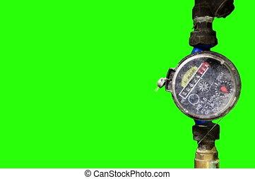 Old Water Meter - 4K. Old Water Meter with green screen,...