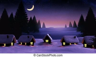 4k, paysage, huttes, dépassement, rayon, sur, lumière, ...