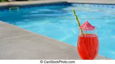 4k, piscine, gros plan, cocktail, paille, parapluie, verre,...