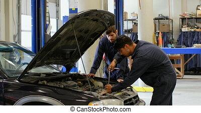 4k, réparation, moteur voiture, mécanique, atelier