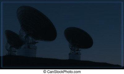 4k, radio teleskope, in, sync., (elements, möbliert, per,...