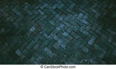 4K raindrop to ancient of dark and aqua tone brick floor ...