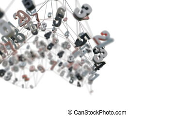 4K Random Numbers Moving in a Mesh. 3D Animation. Seamless...