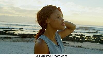 4k, relaxen, strand, vrouw