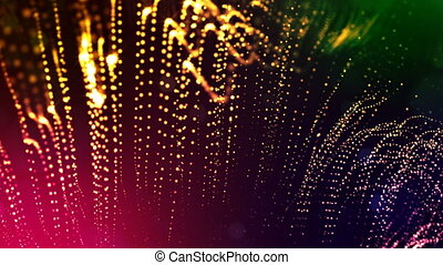 4k render of glow particles as abstract seamless dynamic background with depth of field and bokeh. Science fiction or microcosm, space or digital abstract space. 3d loop animation. multicolor 4