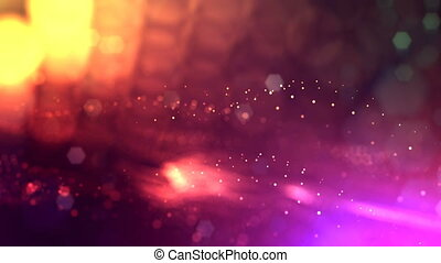 4k render of glow particles as abstract seamless dynamic background with depth of field and bokeh. Science fiction or microcosm, space or digital abstract space. 3d loop animation. multicolor 23