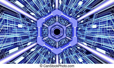 3D Abstract Digital Circuit System Tunnel with Hexagon Rings Borders in Blue Color Theme Background