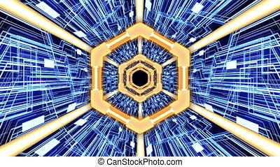 3D Abstract Digital Circuit System Tunnel with Hexagon Rings Borders in Orange-Blue Color Theme Background