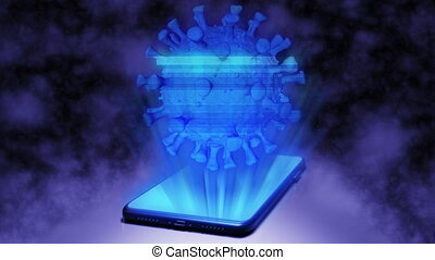 3D Rendering Virus/Coronavirus Cell model Hologram Projecting from Smartphone on the floor in the Dark Room with Abstract Background