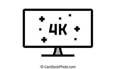 4k resolution computer display animated color icon. 4k resolution computer display sign. isolated on white background