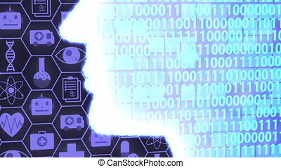 Futuristic AI/Human Head Computing and Thinking Medical Technology Icon Set HUD including Binary Code Background (Camera Panning)