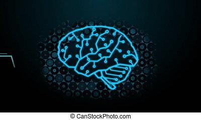 Futuristic Binary Code fused to Digital Brain Design with Brainwave and Random Abstract Hexagon Tech Background