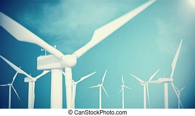 4K resolution, wind turbine, generator on sky background with clouds. 3d animation.
