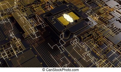 4K Reveal of a futuristic CPU chip and motherboard. Highly...