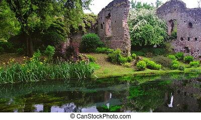 4k river castle ruins garden fairy tale nymph garden .