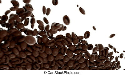 4k Roasted Coffee beans flow in slow motion with alpha. 3d rendering