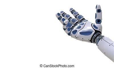4K. Robot Arm. Futuristic robotic hand in motion