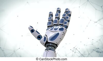 4K. Robot Arm.Robotic hand in motion on futuristic background