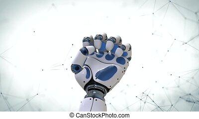 4k., robot, arm.robotic, mouvement, fond, main, futuriste