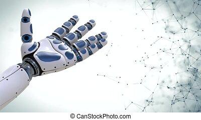 4k., roboter, arm.robotic, bewegung, hintergrund, hand,...