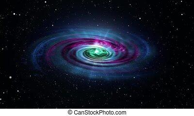 4k, rotation, interminable, champ, coloré, galaxie, loop., résumé, seamless, vagues, particule, nebula.