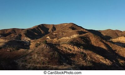 4k, ruisseau, californie, coucher soleil, spectaculaire, malibu, bourdon, parc état, vidéo, footage., aérien