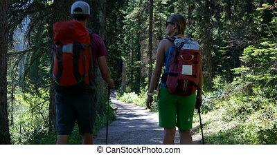 4k, sac à dos, randonneur, dense, caucasien, vue, couple,...