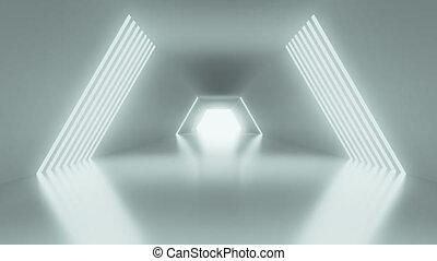 4K Sci-fi hallway. 3D CGI animation.