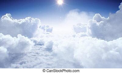 4k, seamless., réaliste, 3840x2160, clair, lumière du jour, animation, par, sun., briller, sous, voler, soleil, interminable, vol, beau, hd, fait boucle, 3d, ultra, au-dessus, nuages, après-midi, cloudscape
